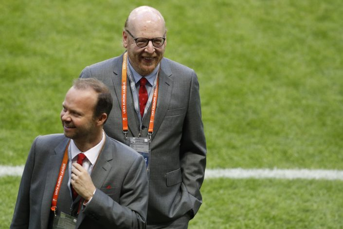 Manchester United co owner Avram Glazer and executive vice-chairman Ed Woodward before the match.