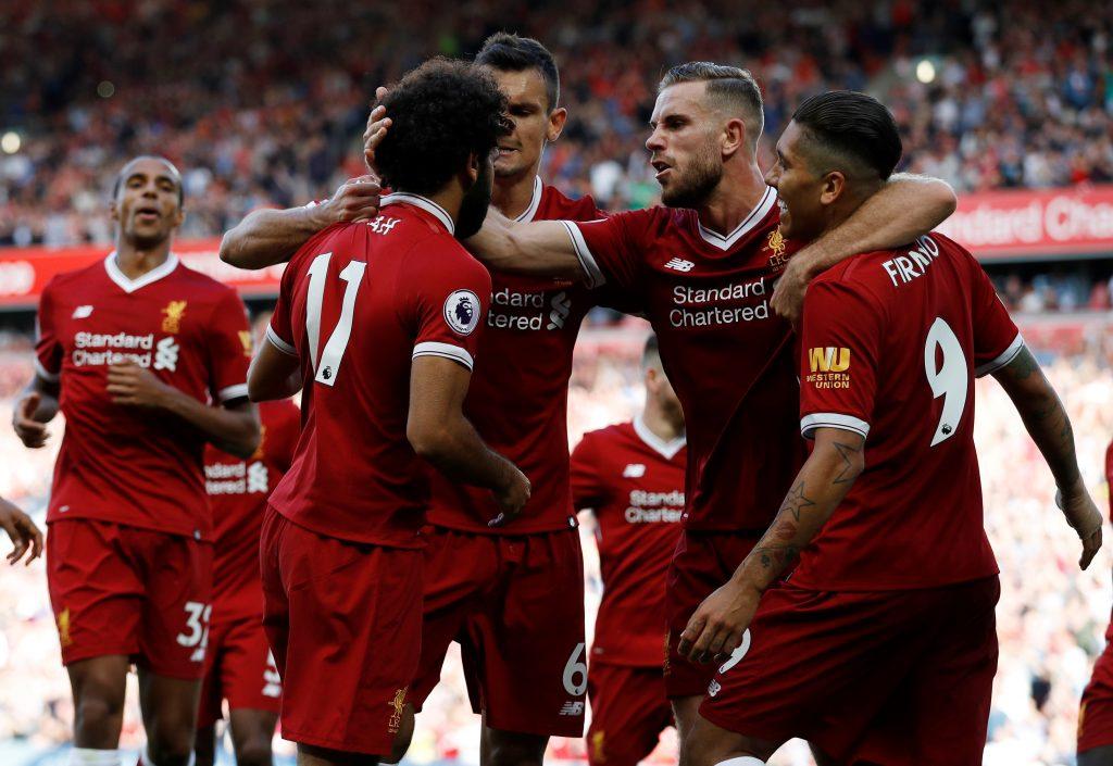Liverpool's Mohamed Salah celebrates.