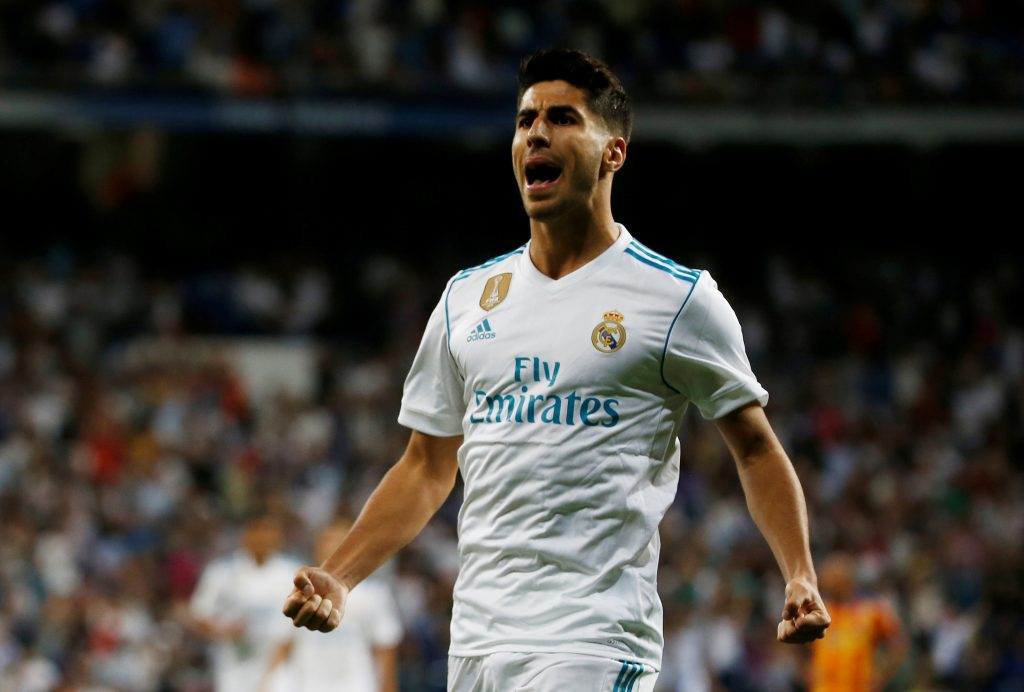 Real Madrid's Marco Asensio celebrates.