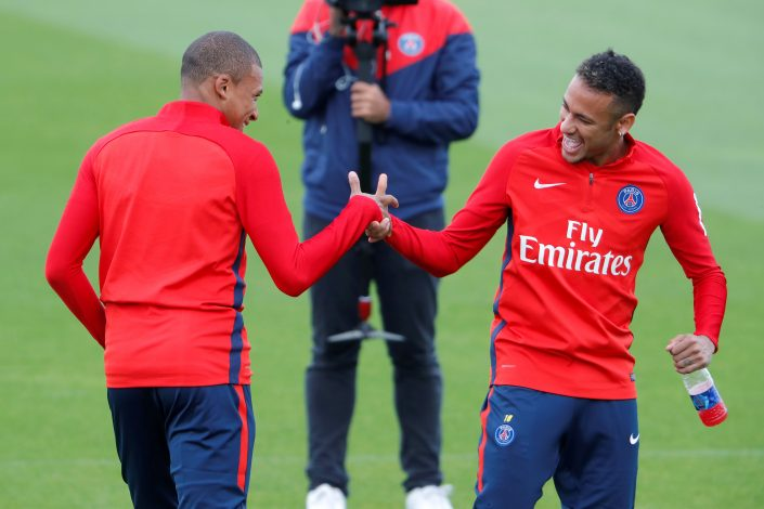Neymar of Brazil and Kylian Mbappe of France at training.