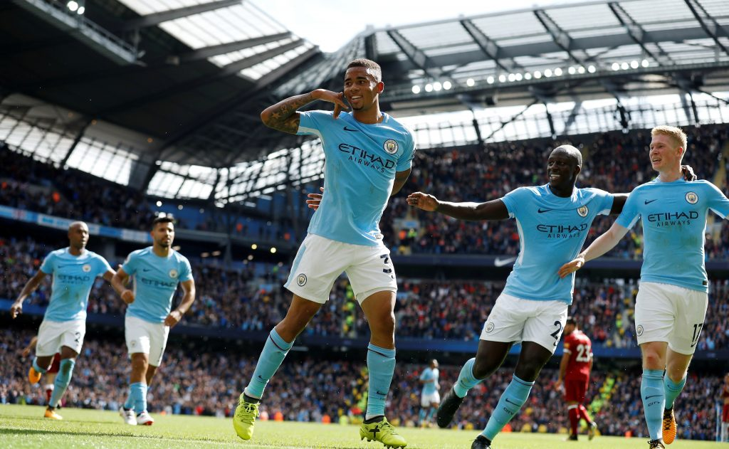 Manchester City's Gabriel Jesus celebrates scoring their second goal with Benjamin Mendy and Kevin De Bruyne.