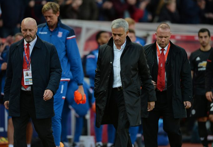 Jose Mourinho looks dejected at the end of the match.