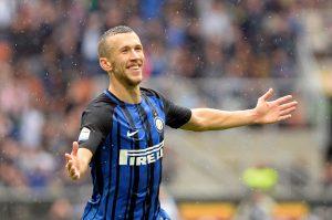 Inter Milan's Ivan Perisic celebrates scoring their second goal.