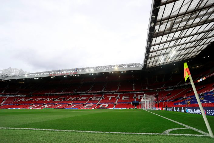 General view inside the Old Trafford stadium before the match.