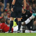 Paul Pogba receives medical attention after sustaining an injury