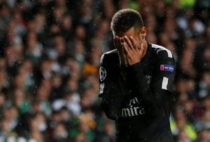 Paris Saint-Germain's Neymar looks dejected.