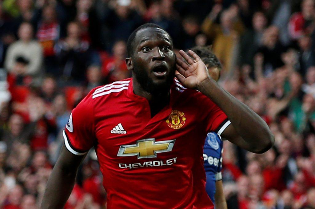 Manchester United's Romelu Lukaku celebrates scoring their third goal.