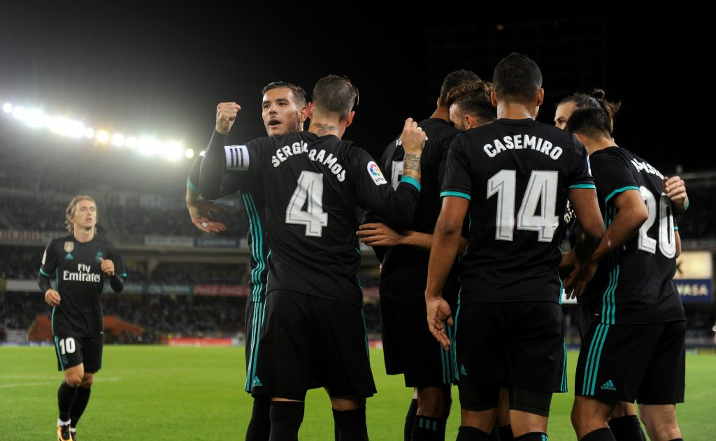 Real Madrid's Borja Mayoral celebrates scoring their first goal with team mates.