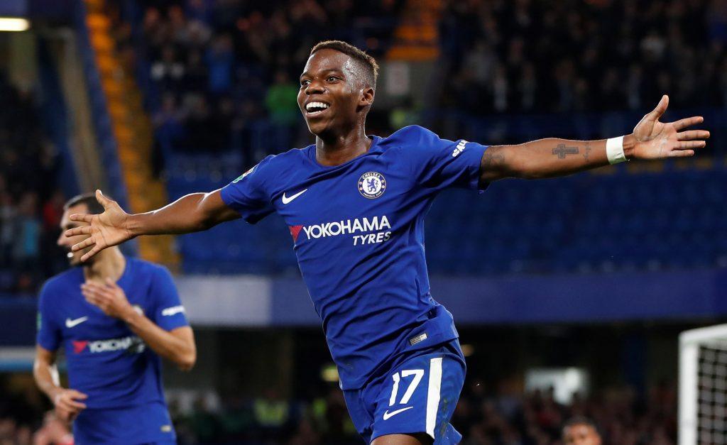 Chelsea's Charly Musonda celebrates scoring their third goal.