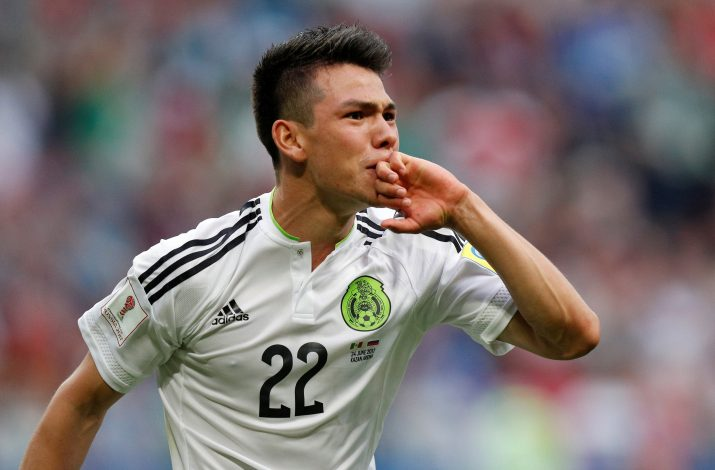 Mexico's Hirving Lozano celebrates scoring their second goal.