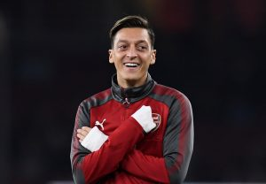 Arsenal's Mesut Ozil before the match.