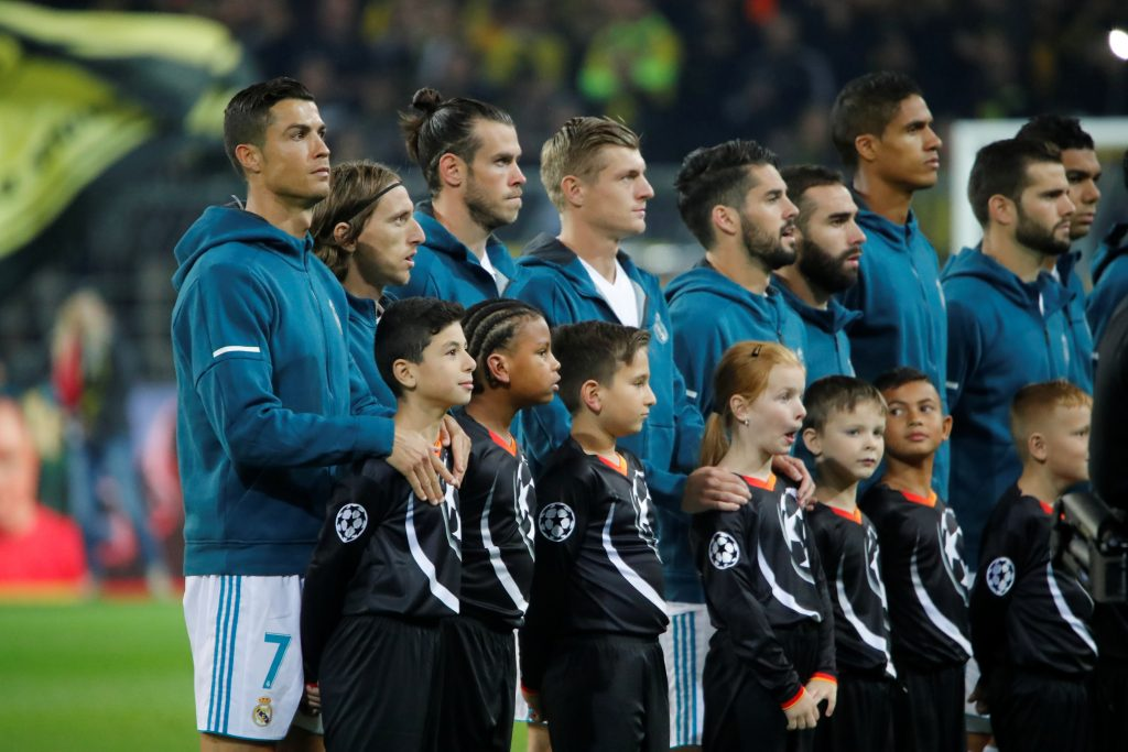Real Madrid's Cristiano Ronaldo and team mates line up before the match.