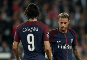Paris Saint-Germain's Edinson Cavani and Neymar.