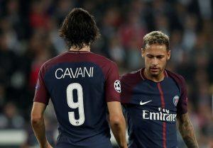 Paris Saint-Germain's Edinson Cavani and Neymar.