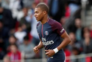 Paris Saint-Germain's Kylian Mbappe after scoring their sixth goal.