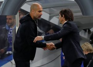 Man City manager Pep Guardiola and Chelsea manager Antonio Conte after the match.