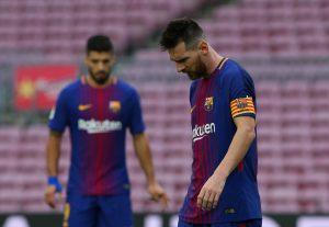 Barcelona's Luis Suarez and Lionel Messi.