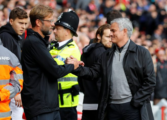 Jurgen Klopp and Jose Mourinho before the match.
