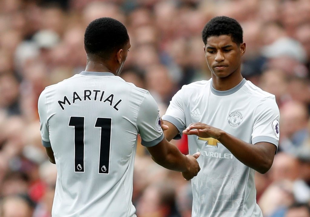 Marcus Rashford comes on as a substitute to replace Anthony Martial.