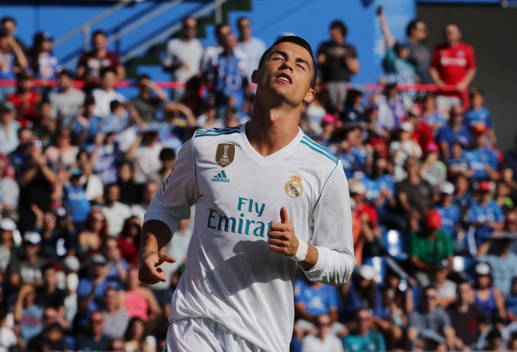 Cristiano Ronaldo looks dejected after missing a chance to score.