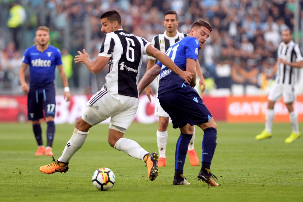 Juventus' Sami Khedira in action with Lazio's Sergej Milinkovic-Savic.