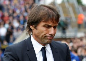 Chelsea manager Antonio Conte looks dejected after the match.