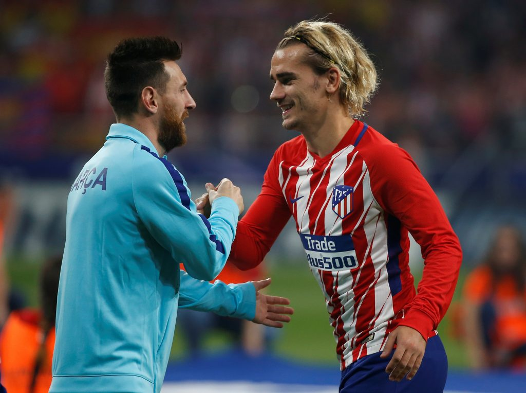 Antoine Griezmann and Lionel Messi before the match.