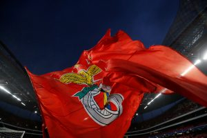 A general view of a S.L. Benfica flag inside the stadium before the match.