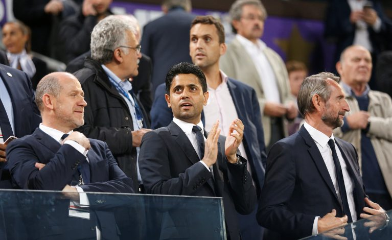 Paris Saint-Germain chairman Nasser Al-Khelaifi in stands.