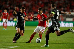 Manchester United's Ander Herrera in action with Benfica's Alex Grimaldo.