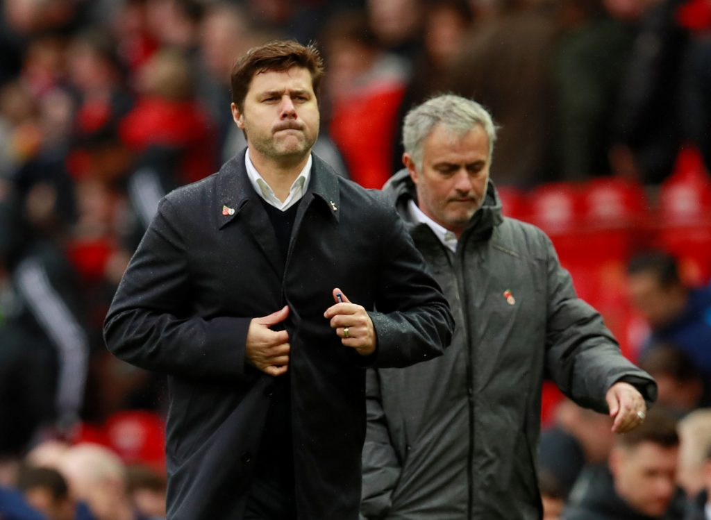 Jose Mourinho and Mauricio Pochettino at half time.