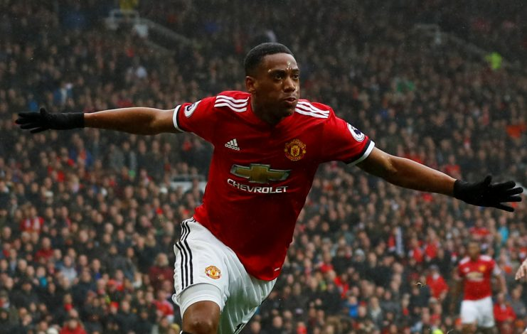 Anthony Martial celebrates scoring.