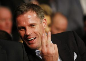 Former Liverpool footballer Jamie Carragher before the fight.