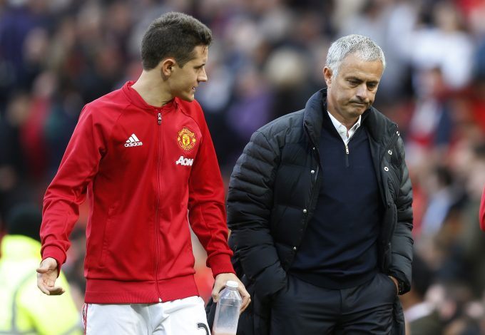 Ander Herrera and manager Jose Mourinho at the end of the match.
