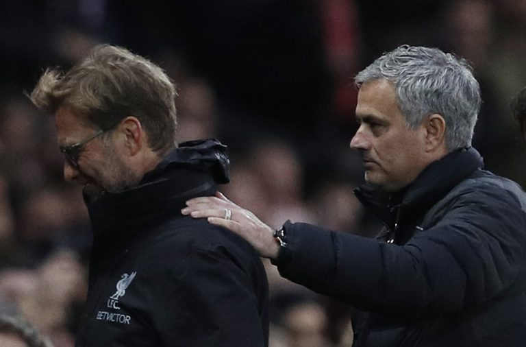 Liverpool manager Jurgen Klopp and Jose Mourinho before the match.