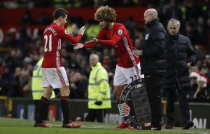 Marouane Fellaini comes on as a substitute to replace Ander Herrera.