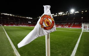 General view of a corner flag at Old Trafford.