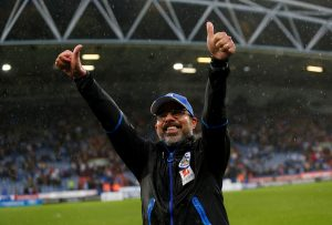Huddersfield Town manager David Wagner celebrates at the end of the match.