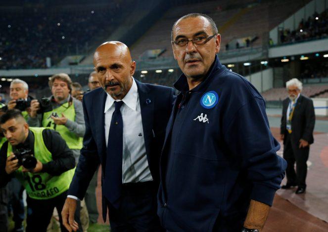 Inter Milan coach Luciano Spalletti with Napoli coach Maurizio Sarri before the match.
