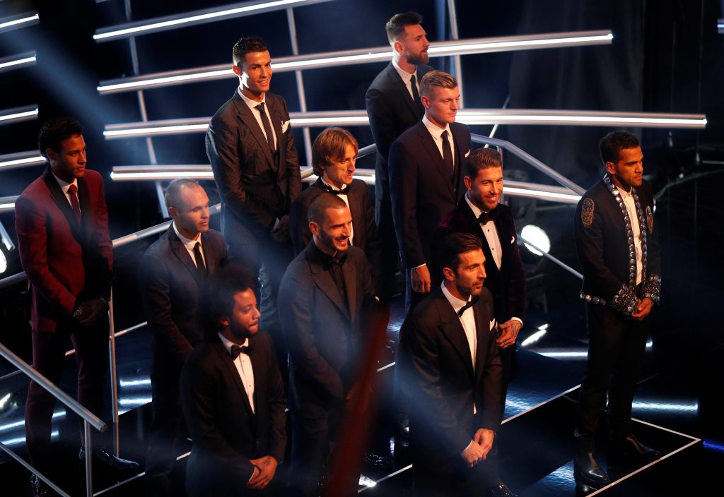 Neymar, Cristiano Ronaldo, Lionel Messi, Andres Iniesta, Luka Modric, Toni Kroos, Dani Alves, Sergio Ramos, Leonardo Bonucci, Marcelo and Gianluigi Buffon are selected in the FIFA FIFPro World 11 during the awards.