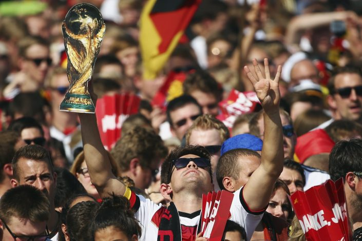 Fans enjoy the atmosphere during celebrations to mark Germany's 2014 Brazil World Cup victory.
