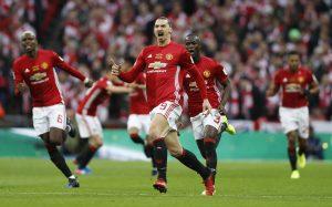 Zlatan Ibrahimovic celebrates.