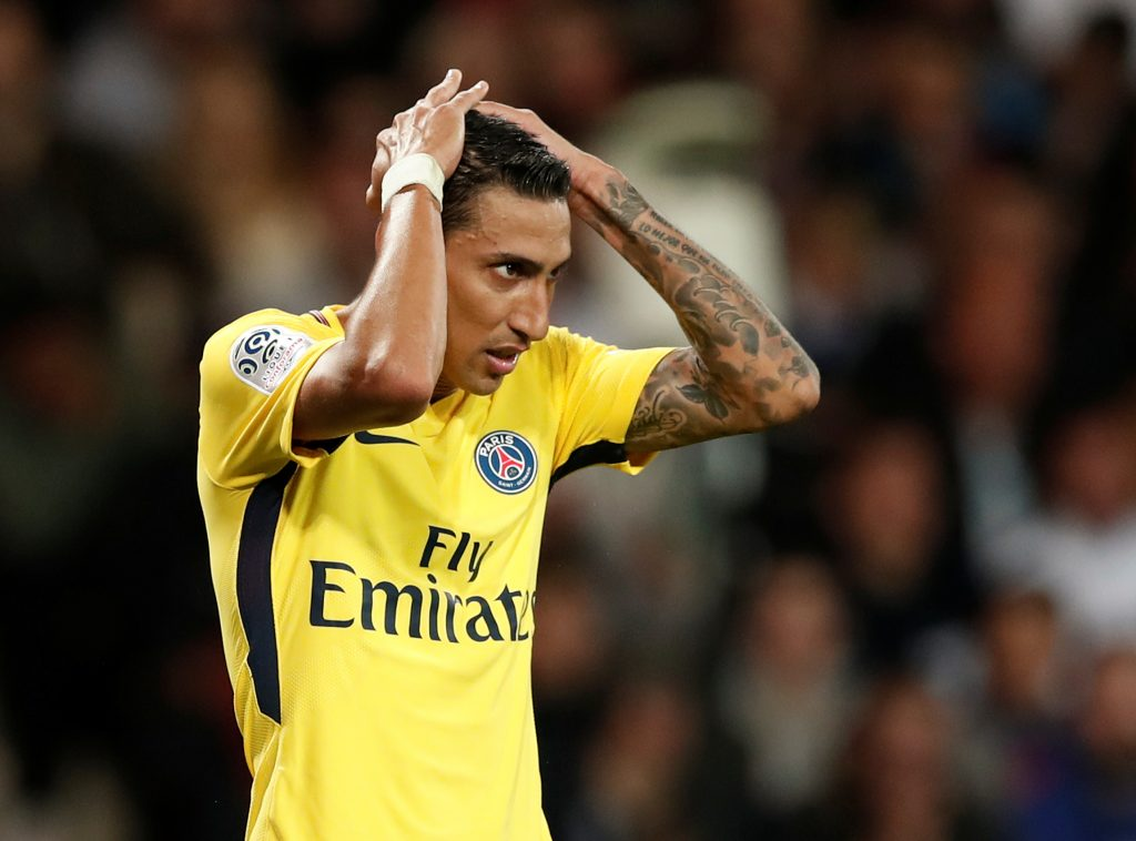 Angel Di Maria looks dejected.