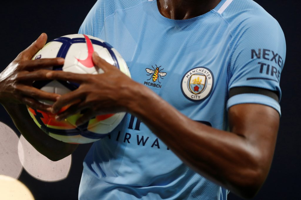 General view of a Manchester City shirt.