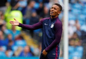 Manchester City's Gabriel Jesus warms up before the match.