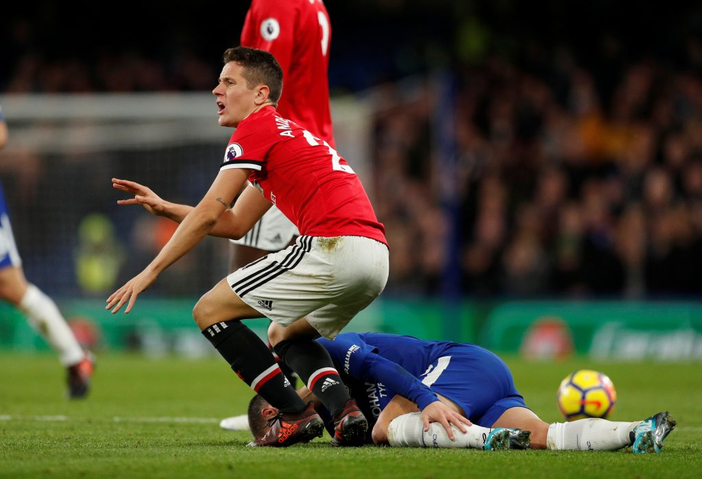 Eden Hazard is fouled by Ander Herrera resulting in a booking for Herrera.