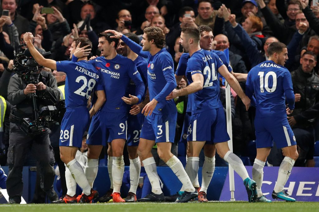 Chelsea's Alvaro Morata celebrates scoring their first goal with teammates.