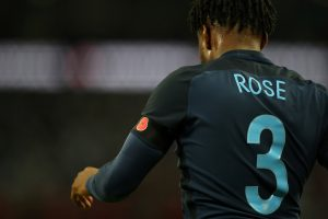 General view of England's Danny Rose with a black armband with a poppy.