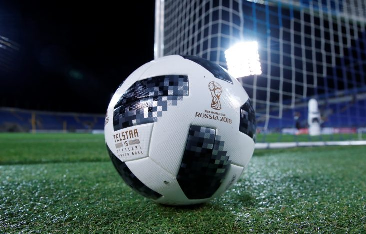 "An official ball of FIFA World Cup 2018, ""Telstar 18""."