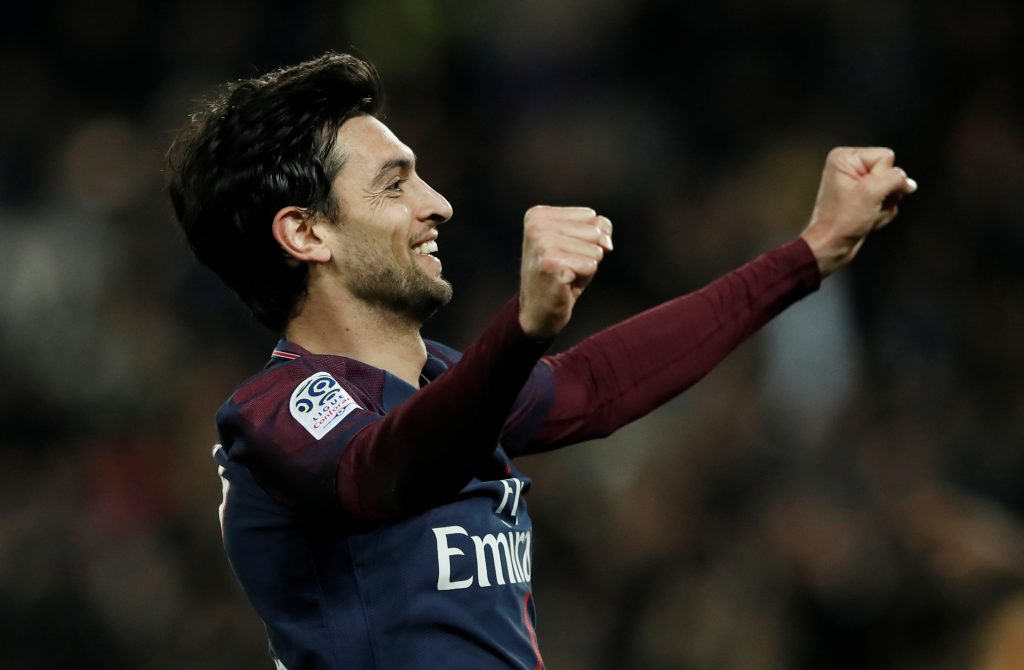 Paris Saint-Germain's Javier Pastore celebrates scoring their third goal.